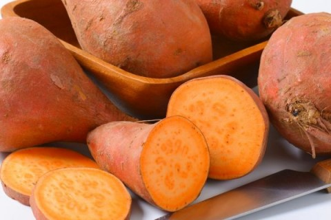 Sweet potatoes with orange flesh (rich source of vitamin A), Image: 215455639, License: Rights-managed, Restrictions: , Model Release: no, Credit line: Profimedia, Digifoodstock