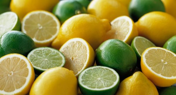 Lemon, Citrus limon and limes, Citrus aurantiifolia, Several whole fruits, with halves grouped together., Image: 217947381, License: Rights-managed, Restrictions: , Model Release: no, Credit line: Profimedia, Flowerphotos