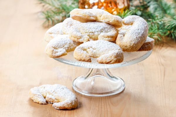 Stack of christmas croissants on glass cake stand, Image: 185750165, License: Rights-managed, Restrictions: , Model Release: no, Credit line: Profimedia, BEWfood