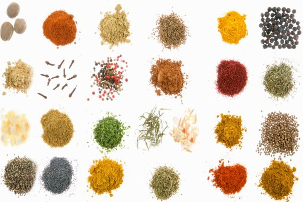 From the left to the right and from the top to the bottom : nutmeg, paprika, fennel, aniseed, turmeric, juniper berries, ginger, clove, five mix pepper, cinnamon, sumac, provencal herbs, garlic flakes, anise, parsley, tarragon and shallots, cumin, coriander, ground black pepper, blue poppy, raz el hanout, hot pepper and curry madras., Image: 42277393, License: Rights-managed, Restrictions: , Model Release: no, Credit line: Profimedia, BSIP