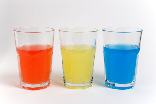 DRINK Soft Drinks Sugar Soda glasses containing light red, yellow and blue coloured soft drinks.  colored color colour colourful soft drink drinks sugar health Cut-out Cutout Cut Out, Image: 132173554, License: Rights-managed, Restrictions: , Model Release: no, Credit line: Profimedia, Alamy