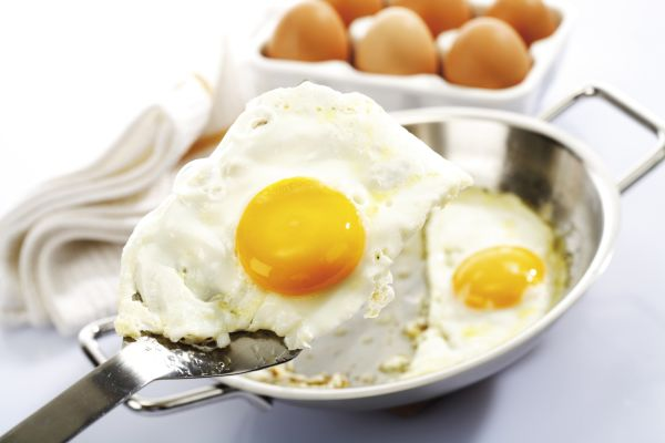 Fried eggs (sunny side up) on a spatula with pan, Image: 43386793, License: Royalty-free, Restrictions: , Model Release: no, Credit line: Profimedia, imageBROKER