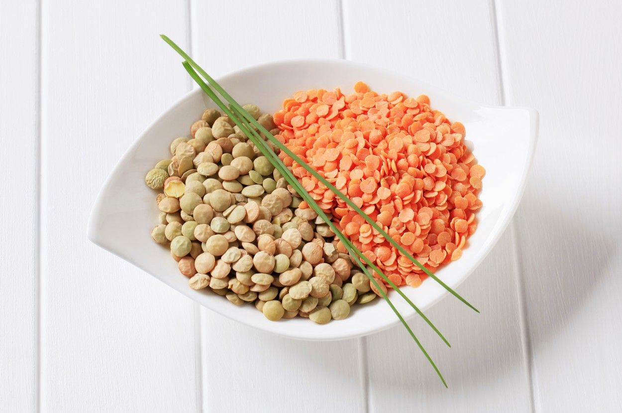 Raw red and brown lentils in a bowl 7888f3d20c