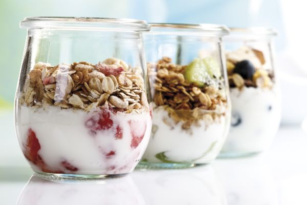 Muesli with yoghurt and fruit in small glass jars, Image: 43448673, License: Royalty-free, Restrictions: , Model Release: no, Credit line: Profimedia, imageBROKER