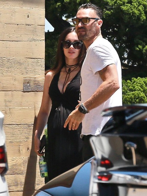 EXCLUSIVE: Megan Fox and Brian Austin Green seen at Nobu in Malibu, CA.
