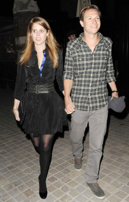**USA ONLY** London, UK - Part 2 - Princess Beatrice of York and her boyfriend, Dave Clark attend the launch of fine jewelry designer Sabine Ghanem's new Harlequin collection held at the Firehouse nightclub in London.  The pair left the party holding hands and were both full of smiles.  Princess Beatrice looked pretty in a black shirt dress with leggings and black heels while Dave was dressed more casual in a plaid shirt with grey jeans.AKM-GSI          April 9, 2014**USA ONLY** To License These Photos, Please Contact :Steve Ginsburg(310) 505-8447(323) 423-9397steve@akmgsi.comsales@akmgsi.comorMaria Buda(917) 242-1505mbuda@akmgsi.comginsburgspalyinc@gmail.com