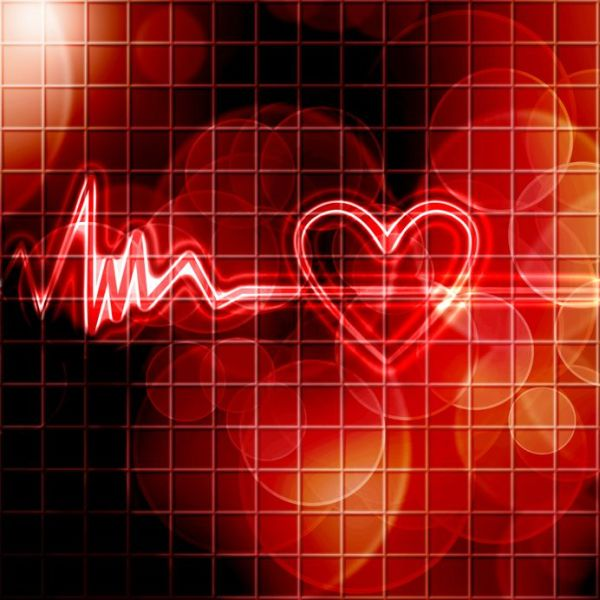 16341271 - abstract heart monitor on a dark red background