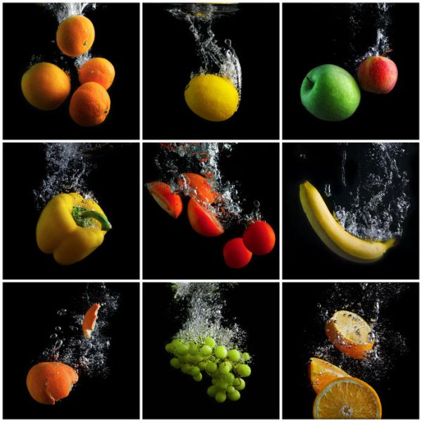 50401098 - fruits and vegetables falling into the water with splashes and bubbles. a set of photos. concept of clean food. promotion of healthy eating.