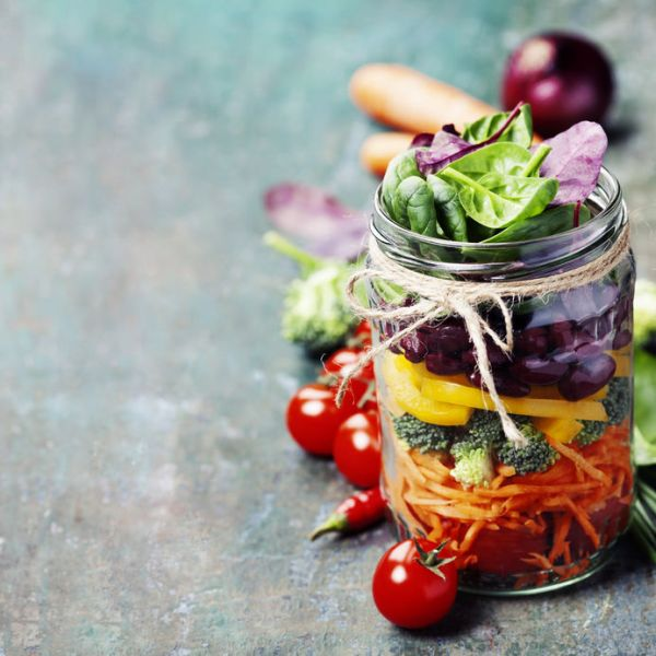 54573036 - healthy homemade mason jar salad with beans and veggies - healthy food, diet, detox, clean eating or vegetarian concept