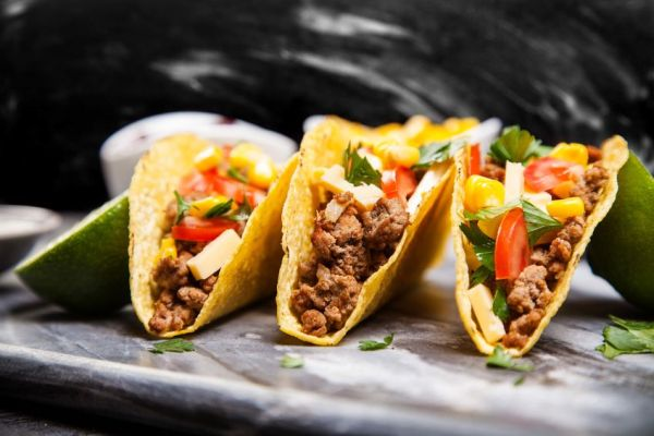 44653606 - mexican food - delicious tacos with ground beef