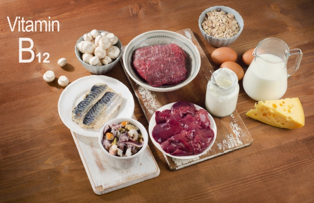 51666803 - foods highest in vitamin b12 (cobalamin) on a wooden background. healthy diet.