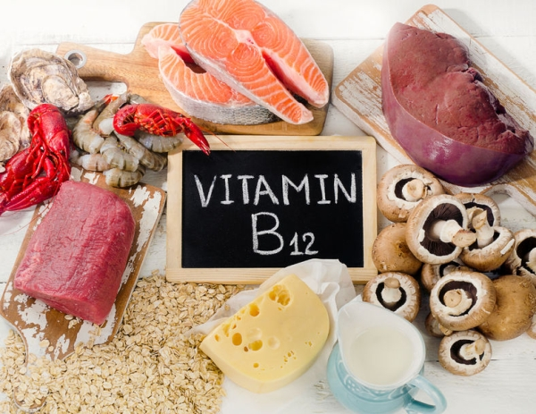66526178 - natural sources of vitamin b12 (cobalamin). healthy diet eating. top view