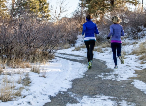 17411090 - two young women jogging in the park, on a curved trail through trees in the winter with snow on the ground