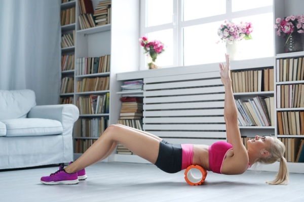 64661663 - workout. woman exercise at home