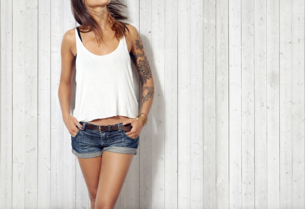40129682 - woman wearing blank sleeveless t-shirt