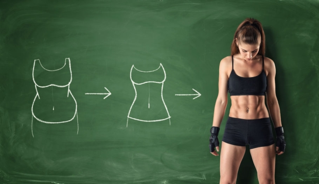 63066428 - concept of how a girl's body changing - from fat belly to perfect waist and abs on the background of a chalkboard. self-improvement and sport. athletic body. workout and fitness.