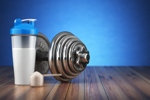 64134032 - dumbbell and whey protein shaker. sports bodybuilding supplements or nutrition. fitness or healthy lifestyle concept. 3d illustration