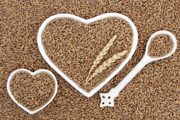 58544798 - spelt grain health food in heart shaped bowls and porcelain spoon forming an abstract background.