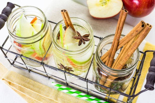 46648274 - infused apple water with cinnamon and anise.