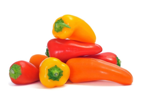 16721390 - sweet bite peppers of different colors, orange, red and yellow, on a white background