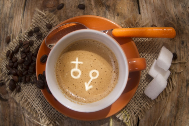 48345478 - representation of the symbol of the male and female dendro a cup of coffee