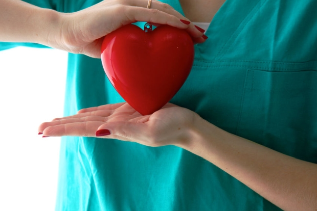 75648040 - dr. gently holding a heart on white background