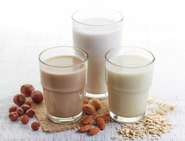 43264094 - different vegan milk: almond milk, hazelnut milk and oat milk
