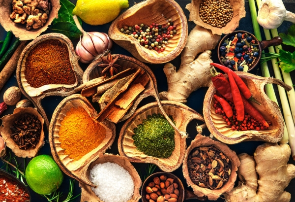 43282956 - various herbs and spices on wooden table