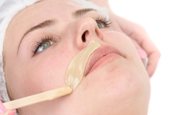 28274092 - beauty salon, mustache depilation, facial skin treatment and care