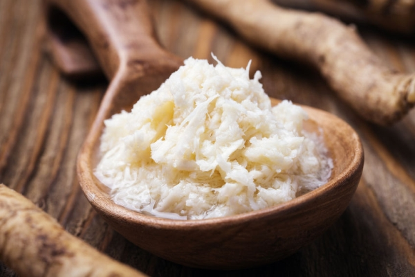 48774530 - seasoning of grated horseradish, closeup