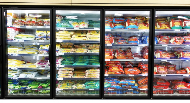 32900594 - frozen foods on shelves in a supermarket