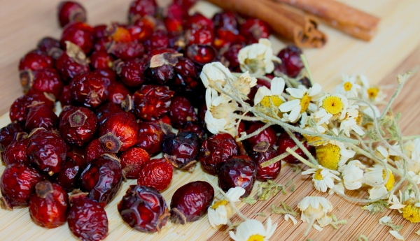 80032386 - dried rose hips, cinnamon sticks and daisies on bread board.