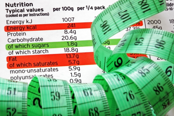 25151628 - nutrition facts and measure tape concept for dieting and healthy eating