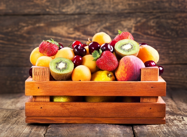 40979270 - fresh fruits in wooden box