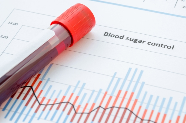 47757060 - sample blood for screening diabetic test in blood tube on blood sugar control chart.