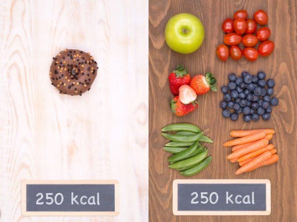 98819138 - healthy vs unhealthy food concept, making good choices on a diet