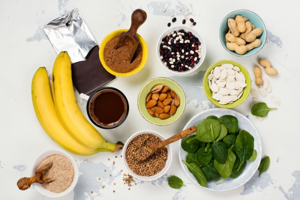 Food rich of magnesium. Magnesium sources. Healthy living concept
