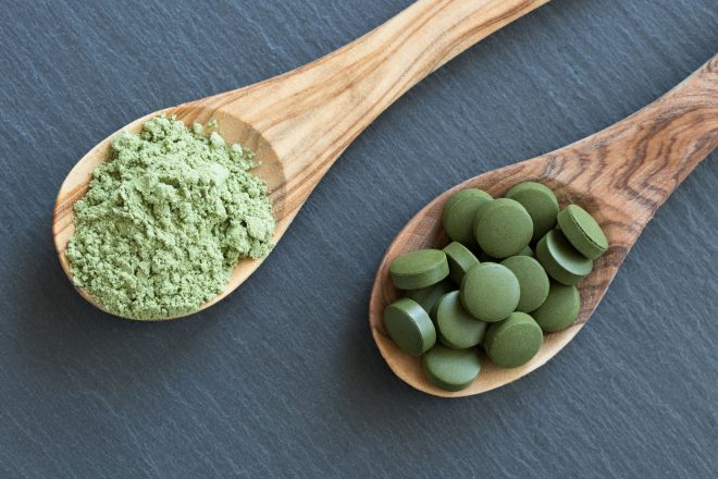Chlorella tablets and young green barley powder on two wooden spoons on a dark background