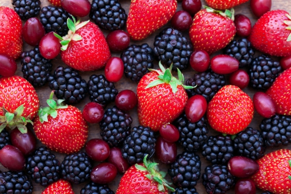 Berries, summer fruit on wooden table. Healthy lifestyle concept, Top view horizontal,