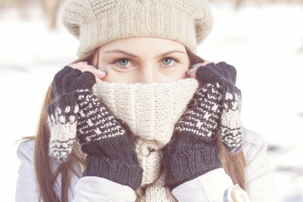 43474231 - winter portrait of female with beautiful blue eyes outdoor