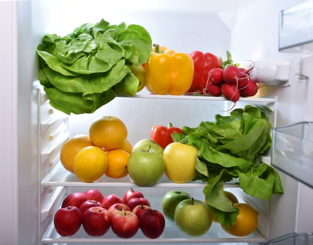 Fresh fruits and vegetables in the fridge