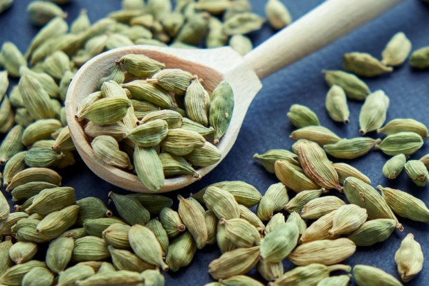 Super food cardamom health food selection in spoon