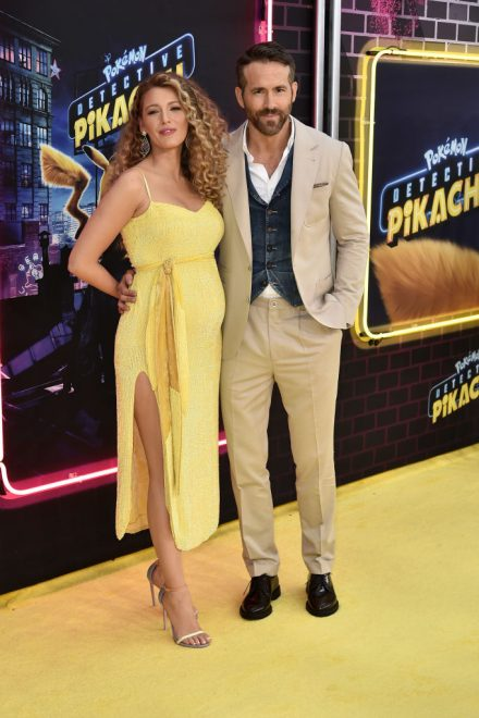 "NEW YORK, NY - MAY 02:  Blake Lively and Ryan Reynolds attend the premiere of ""Pokemon Detective Pikachu"" at Military Island in Times Square on May 2, 2019 in New York City.  (Photo by Steven Ferdman/Getty Images)"