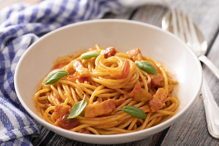 Close up of spaghetti a la amatriciana